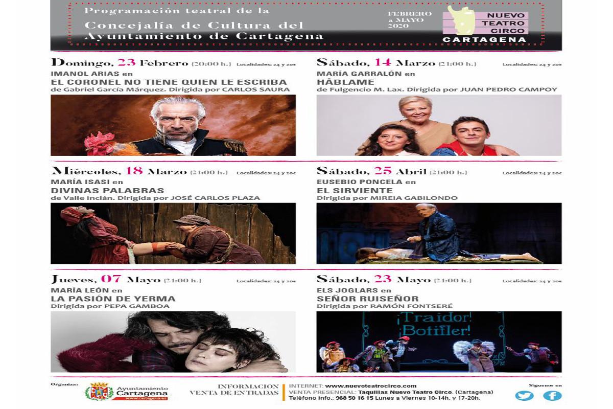 Programación teatral de la Concejalía de Cultura febrero a mayo: Teatro Circo